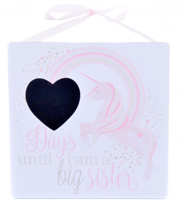 Days Until I Am A Big Sister Hanging Unicorn Sign Countdown Plaque