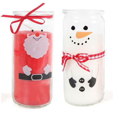 Festive Christmas Scented Candle Glass Jar Tealight Holders - Set of 2 - Santa and Snowman