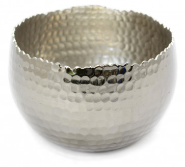 Hammered Effect Aluminium Bowl Tealight Candle Holder