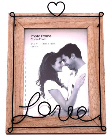 "Distressed Wooden Wire Love Freestanding Portrait Photo Frame 5"" x 7"""