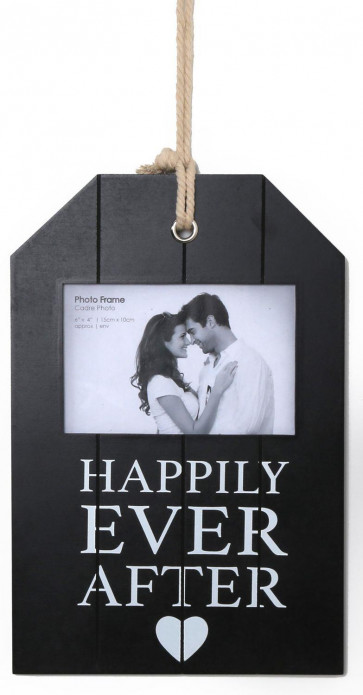 Wooden Hanging Panel Effect Gift Tag Photo Frame - Happily Ever After Picture Frame