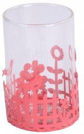 Think Pink Garden Party Tealight Candle Holder - Red