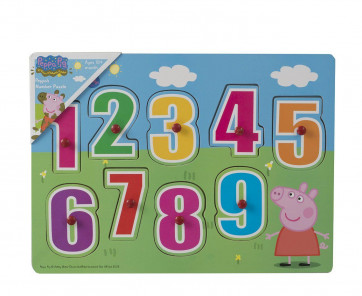 Peppa Pig Number Puzzle ~ Wooden Peg Puzzle Jigsaw For Toddlers