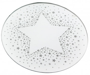 Mirrored Glass Glitter Star Christmas Candle Plate 20cm