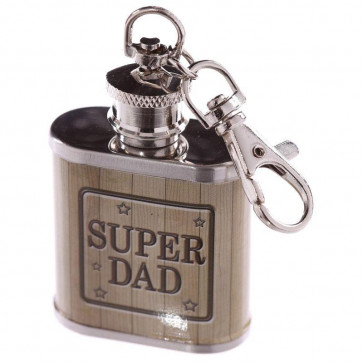 1Oz Stainless Steel Mini Hip Flask Key Ring Keyring - Super Dad