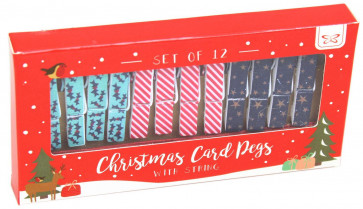 Pack Of 12 Mini Wooden Christmas Card Pegs With String