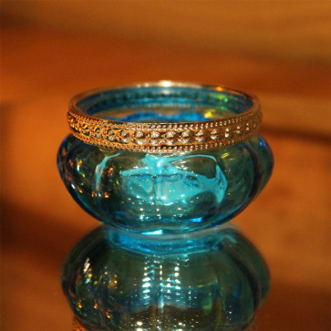 Bright Coloured Glass Ribbed Tealight Candle Holder Pot - Blue