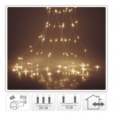 200 Silver Wire Hanging Chandelier LED Lights | Mains Operated Warm White Fairy Light Cascade | Plug In Decorative Waterfall Indoor Outdoor Lights 2m