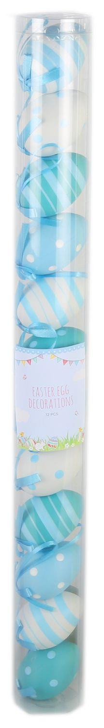 Easter Tree Display Egg Decorations - 12 Pretty Pastel Patterned 7Cm Hanging Easter Eggs - Blue