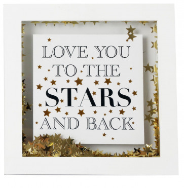 White Wooden Gold Star Confetti Decorative Box Printed Quote Frame 17cm ~ Love You To The Stars And Back