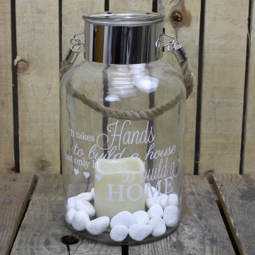 Clear Glass Hurricane Storm Lantern With Rope Handle And LED Flameless Candle And Decorative Stones ~ Hands And Hearts