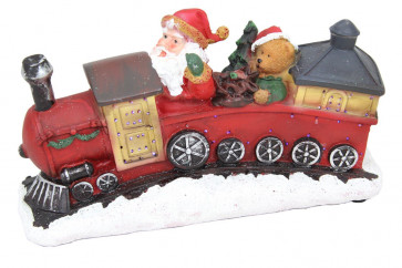 Light Up LED Glitter Santa Father Christmas Train Ornament