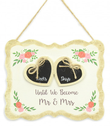 Shabby Chic Rustic Floral Rose Wedding Countdown Plaque Hanging Sign