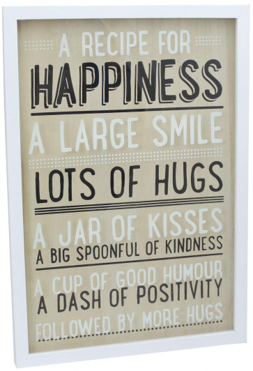 White Wooden Decorative Box Frame 3D Quote Hanging Sign Plaque ~ A Recipe For Happiness