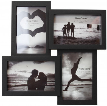 Wall Mounted Plastic Quad Picture Multi Photo Frame ~ Black