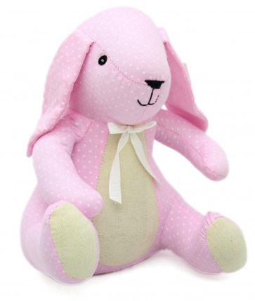 Decorative Polka Dot Bunny Rabbit Fabric Doorstop - Pink Door stop