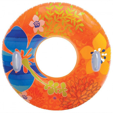 97Cm Intex Inflatable Swim Ring With Handles ~ Orange Hibiscus