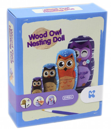 Keycraft Paint Your Own Wooden Owl Russian Nesting Doll Craft Activity Kit For Children