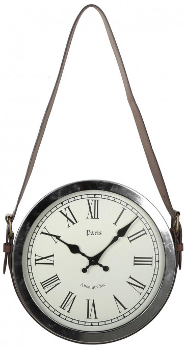 Hanging Wall Clock With Faux Leather Belt Handle 30Cm