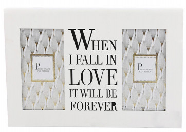 Double 4 x 6 Wall Hanging Wooden Photo Picture Frame With Cut Out Words ~ When I Fall In Love