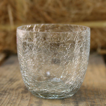 Crackle Tealight Candle Holder Pot - Clear