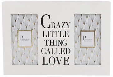Double 4 x 6 Wall Hanging Wooden Photo Picture Frame With Cut Out Words ~ Crazy Little Thing Called Love