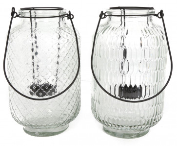 Wire Framed Clear Patterned Tall Glass Hurricane Style Tealight Candle Lantern