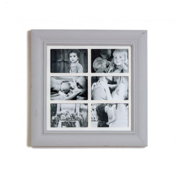 Deluxe 6 Aperture Solid Pine Wood Hanging Multi Photo Picture Frame ~ Dove Grey