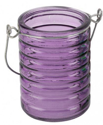 Ribbed Glass Tealight Holder With Wire Hanger ~ Purple