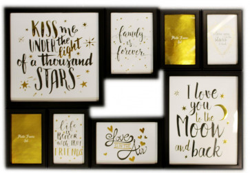 Wall Hanging 8 Multi Photo Frame Set Love Family Friend Quote ~ Black