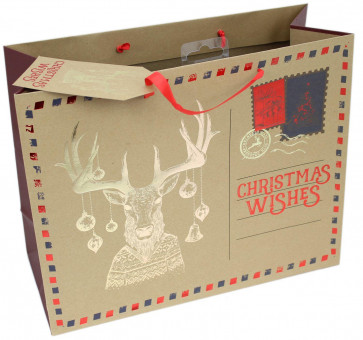 Medium Letter Style Gold Embossed Christmas Present Gift Bag 27cm x 33cm - Reindeer Stag