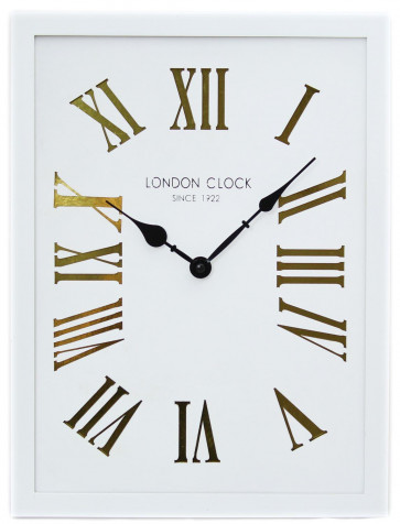 40cm x 30cm White Rectangular Wooden London Wall Clock With Metallic Cut Out Roman Numerals ~ Gold