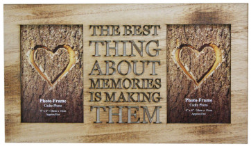 4 X 6 Rustic Double Worded Wooden Memories Photo Frame