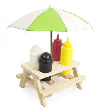 Picnic Bench Table Umbrella Novelty Condiment Set