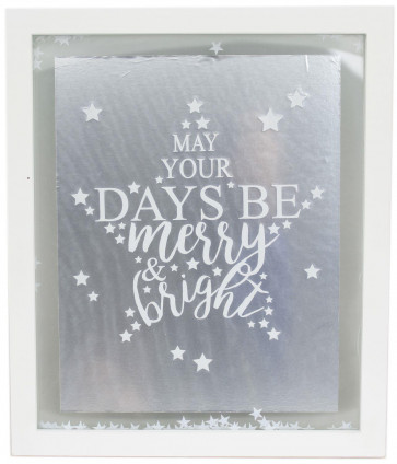 Hanging White Christmas Confetti Glass Plaque 27cm x 32cm - May Your Days Be Merry And Bright