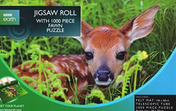 BBC Earth 1000 Piece Jigsaw Puzzle With Felt Jigsaw Roll ~ White Tailed Deer Fawn