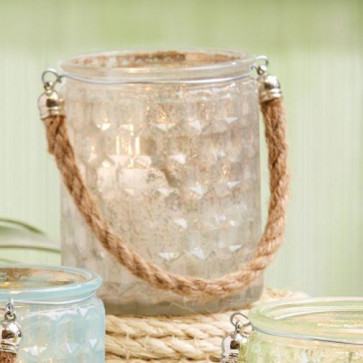 Honeycomb Glass Tealight Holder With Rope Handle ~ Clear