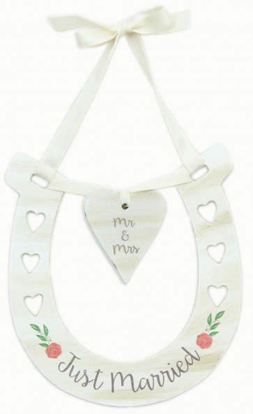 Wooden Wedding Horseshoe Mr And Mrs Heart Plaque Bridal Accessory ~ Just Married Sign