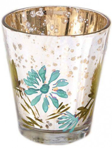 My Daisy Hand Painted Mercury Glass Votive Candle Tealight Holder ~ Turquoise
