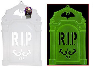 Haunted House 40Cm Spooky Glow In The Dark Tombstone Rip Grave Head Stone Plaque ~ Great Halloween Party Decoration