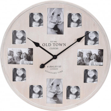 Large Wooden Limewashed Old Town London Photo Picture Frame Decorative Wall Clock 60cm