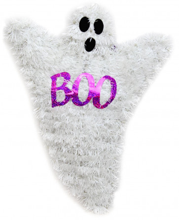 Haunted House Hanging Halloween Wall Plaque Tinsel Decoration ~ Ghost