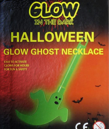 Glow In The Dark Halloween Glow Stick Ghost Pendant Necklace