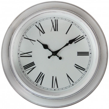 38cm White Washed Antique Round Wall Clock - White