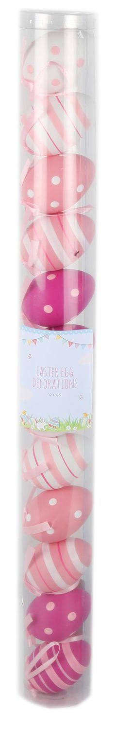 Easter Tree Display Egg Decorations - 12 Pretty Pastel Patterned 7Cm Hanging Easter Eggs - Pink