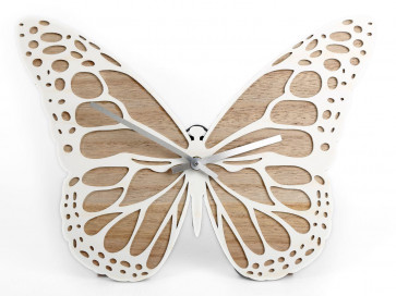 White Natural Wooden Butterfly Freestanding Wall Clock 35Cm X 26Cm