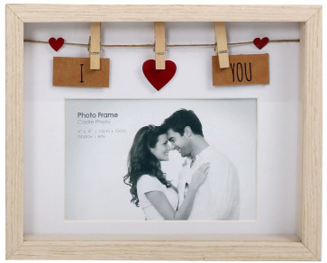 Clothes Line Wooden Box Frame With Pegs For 6 X 4 Photo Frame - I Love You