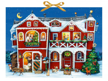 Deluxe Traditional Card Advent Calendar Large - Christmas At The Farmhouse