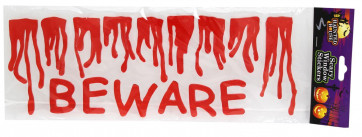 Haunted House Scary Halloween Gel Window Stickers - Red Dripping Blood Bloody Beware ~ Great Halloween Party Decoration
