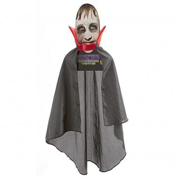 Haunted House Childrens Vampire Cape ~ Great Value Black Halloween Dracula Cloak With Red Collar